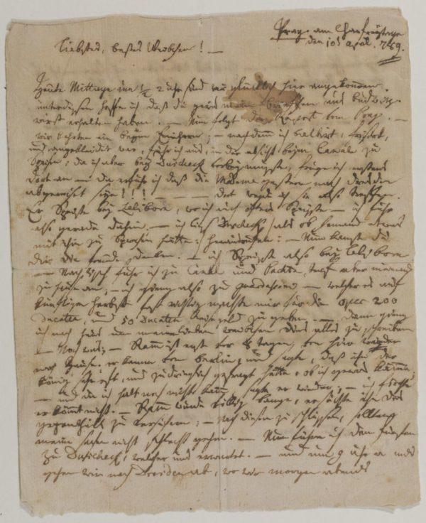Lettera di Mozart a Costanze - 1789