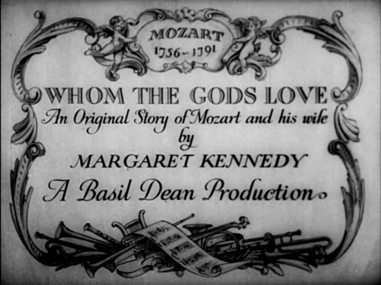 """Titoli di testa di """"Whom the gods love"""" di Basil Dean"""